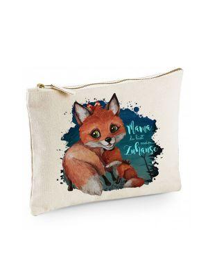 Canvas Pouch Tasche Fuchs mit Junges Spruch Mama mein Zuhause Waschtasche Kulturbeutel cl35