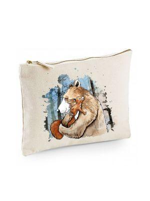 Canvas Pouch Tasche Bär & Eichhörnchen im Wald Waschtasche Kulturbeutel bedruckt cl38