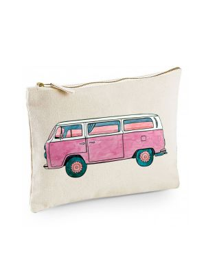 Canvas Pouch Tasche Bulli Bus pink oder türkis seitlich Waschtasche Kulturbeutel cl39
