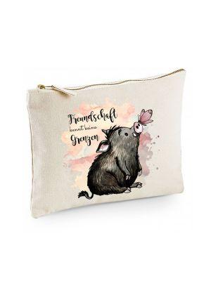 Canvas Pouch Tasche Schwein & Schmetterling Freundschaft Waschtasche Kosmetiktasche cl50
