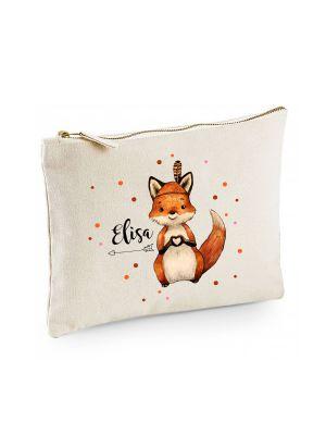 Canvas Pouch Tasche Waschtasche Fuchs Indianerfuchs mit Wunschname Kulturbeutel Motiv cl57
