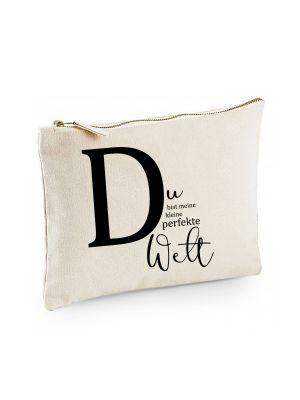 Canvas Pouch Tasche Buchstabe D Spruch Du bist meine perfekte Welt cl7