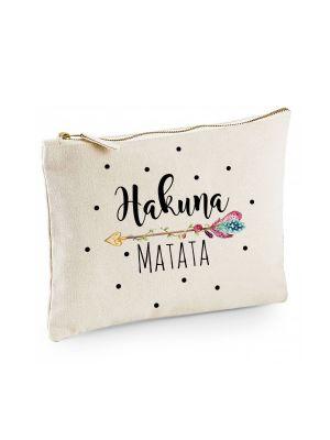 Canvas Pouch Tasche Hakuna Matata & Pfeil Motiv Punkte cl8