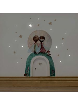 Elfentür Feentür Wichteltür Koboldtür mit Wandtattoo Wandbild Wandaufkleber Wandsticker Aufkleber Sticker Elfenpärchen mit Mond und Sterne elves door fairy door pixie door imp door gnome door with wall decal wall mural wall sticker elves couple with moon