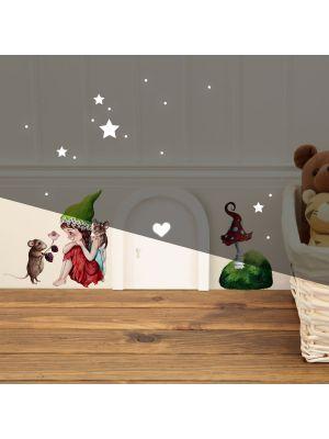 Elfentür Wichteltür kleine Elfe Fee mit Maus & Fliegenpilz Wandtattoo e29