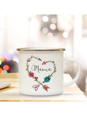 Emaillebecher Tasse Muttertag Campingbecher Mama Blumenherz mit Spruch