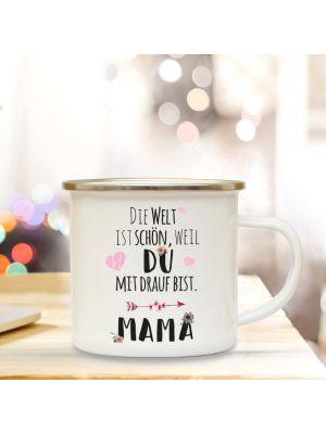 Emaillebecher Muttertag Campingbecher Mama mit Spruch