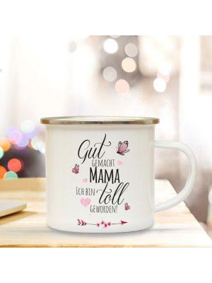 Emaillebecher Kaffeebecher Muttertag Campingbecher mit Spruch