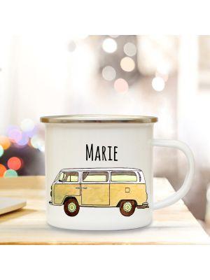 Emaillebecher Campingbecher Kaffeetasse Bus Bulli Surfbus gelb mit Wunschnamen eb110