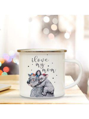 Emaillebecher Muttertag Tasse Campingbecher Koalabär mit Spruch