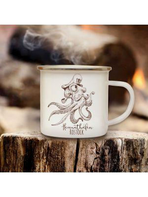 Emaillebecher Kaffeebecher maritim Campingbecher Krake mit Spruch