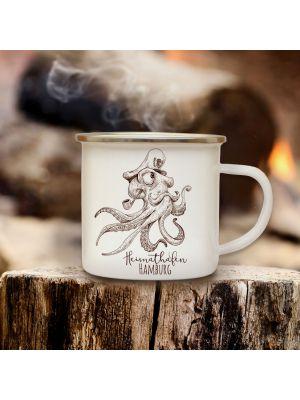 Emaillebecher Krake Kaffeebecher Campingbecher mit Spruch