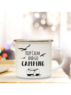 Emaillebecher Camper Campingbecher Kaffeebecher mit Spruch