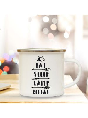 Emaillebecher Tasse Campingbecher Kaffeebecher mit Spruch