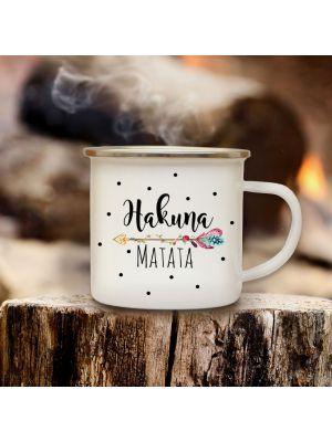 Emaillebecher Campingbecher Kaffeebecher mit Spruch