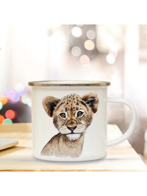 Emaillebecher Tierbecher Campingbecher Kaffeebecher mit Löwe Geschenk eb218