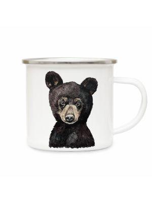 Emaillebecher Tierbecher Campingbecher Kaffeebecher mit Bär Geschenk eb226