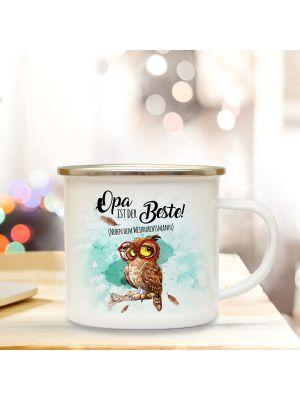 Emaille Becher Camping Tasse Eule Brille & Spruch Opa ist der Beste Kaffeetasse Geschenk eb285