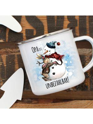 Emaille Becher Camping Tasse Schneemann Hase Spruch Opa ist unbezahlbar Kaffeetasse eb286