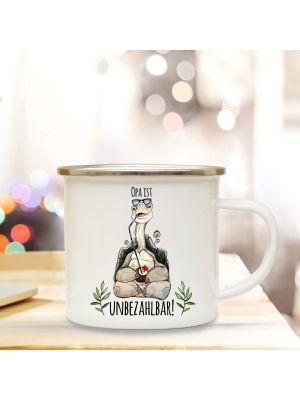 Emaille Becher Tasse Schildkröte Spruch Opa ist unbezahlbar Kaffeetasse Geschenk eb287