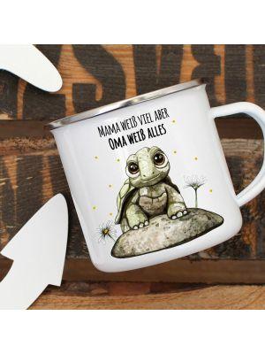 Emaille Becher Tasse Babyschildkröte Spruch Mama weiß viel Oma alles Kaffeetasse Geschenk eb288