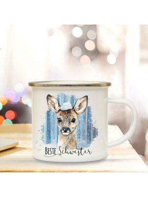 Emaille Becher Tasse Reh Rehkitz Schnee Spruch Beste Schwester Kaffeetasse Geschenk eb295