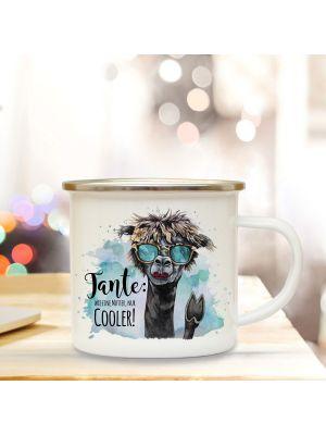 Emaille Becher Tasse Lama Spruch Tante wie Mutter nur cooler Kaffeetasse Geschenk eb299
