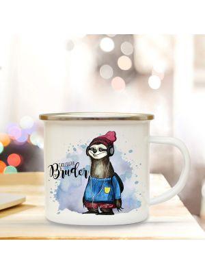 Emaille Becher Tasse Faultier & Spruch Chilligster Bruder Kaffeetasse Geschenk eb301