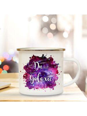 Emaille Becher Camping Tasse mit Spruch Du bist meine Galaxie Kaffeetasse Geschenk eb310