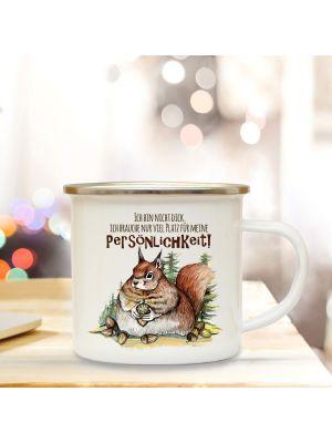 Emaille Becher Camping Tasse dickes Eichhörnchen Spruch Persönlichkeit Kaffeetasse eb314