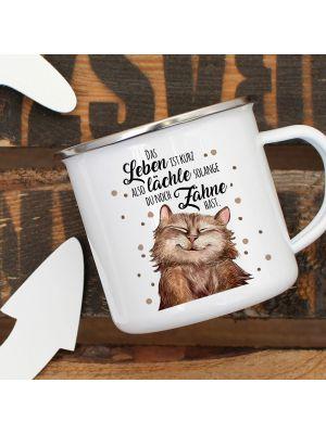 Emaille Becher Camping Tasse Katze Spruch lächle solange du Zähne hast Kaffeetasse Geschenk eb317