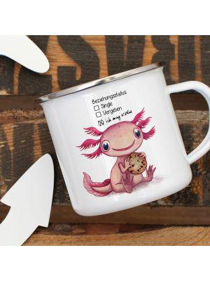 Emaille Becher Tasse Axolotl Beziehungsstatus: ich mag Kekse Geschenk eb333