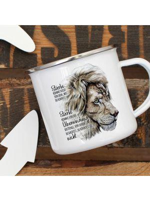Emaille Becher Tasse Löwe Löwenkopf Stärke kommt von Überwindung Geschenk eb336
