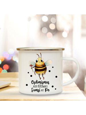 Emaille Becher Tasse Biene Sumsi Optimismus rückwärts Sumsi mit Po Geschenk eb340