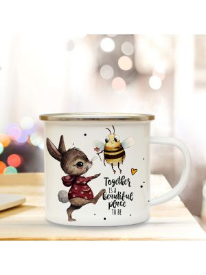 Emaille Becher Tasse HaseBiene Together is beautiful Kaffeetasse Geschenk eb342