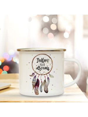 Emaille Becher Tasse Traumfänger Follow your Dreams Kaffeetasse eb343