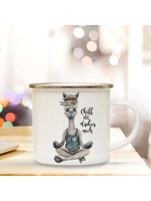 Emaille Becher Tasse Alpaka Yoga Chill mal drüber nach Kaffeetasse Geschenk eb344