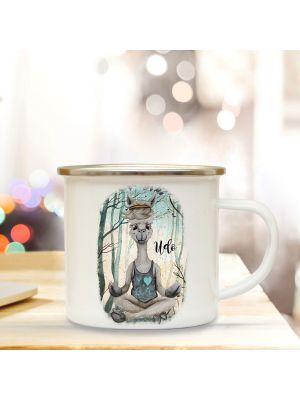 Emaille Becher Tasse Lama Yoga im Wald & Wunschname Kaffeetasse Geschenk eb347