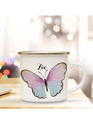 Emaille Becher Tasse bunter Schmetterling & Wunschname Kaffeetasse Geschenk eb348