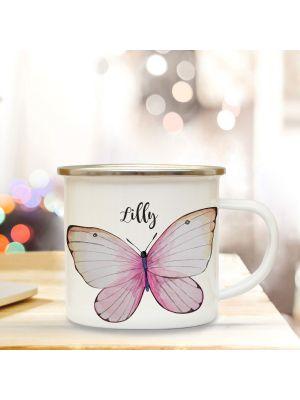 Emaille Becher Tasse schöner Schmetterling & Wunschname Kaffeetasse Geschenk eb349
