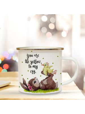 Emaille Becher Tasse Hase & Ente You are the yellow of my egg Geschenk eb350