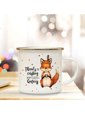 Emaille Becher Tasse Fuchs Indianerfuchs Thanks for existing... Geschenk eb352