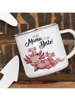 Emaille Becher Tasse Axolotl Kinder Unsere Mama ist die Beste Geschenk eb353
