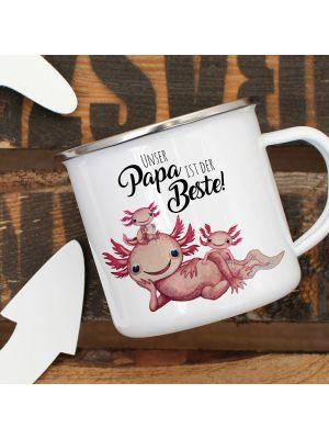 Emaille Becher Tasse Axolotl Papa mit Kinder Papa der Beste Geschenk eb355