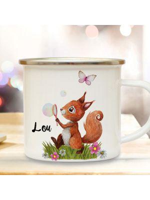 Emaille Becher Tasse Eichhörnchen Seifenblase & Wunschname Kaffeetasse eb360