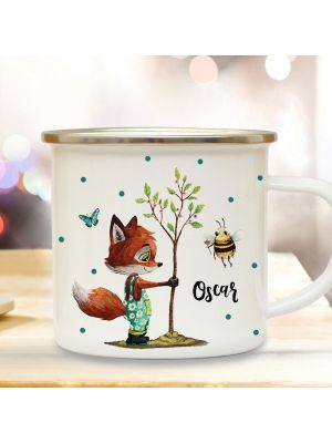 Emaille Becher Tasse Fuchs pflanzt Baum mit Biene & Wunschname Geschenk eb362