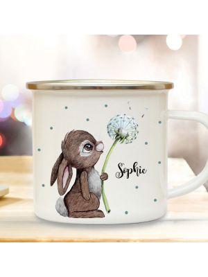 Emaille Becher Tasse Hase Häschen Pusteblume & Wunschname Kaffeetasse eb366