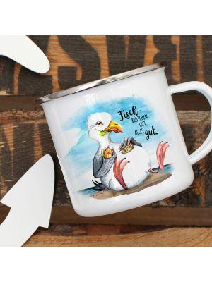 Emaille Becher Tasse Möwe Vogel Fischbrötchen gut alles gut Kaffeetasse eb384