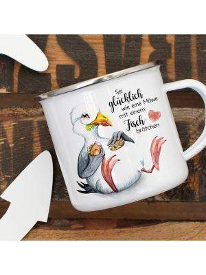 Emaille Becher Tasse Möwe Vogel Spruch Sei glücklich wie eine Möwe eb385