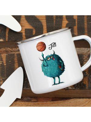 Emaillebecher Becher Tasse Monster Basketball & Wunschname Geschenk eb392